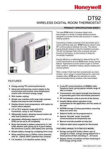 WIRELESS DIGITAL ROOM THERMOSTAT - Honeywell