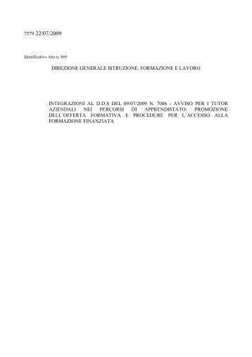 Decreto n.7579 del 21 luglio 2009 - Lavoro.regione. lombardia .it ...