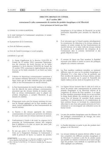 DIRECTIVE 2003/96/CE DU CONSEIL du 27 octobre ... - EUR-Lex
