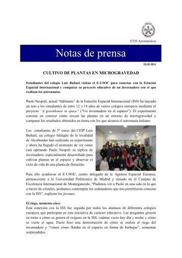 Cultivo de plantas en Microgravedad - ETSIA - Universidad ...