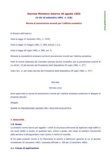 Decreto Ministero Interno 26 agosto 1992. (in GU 16 ... - Gilda Venezia