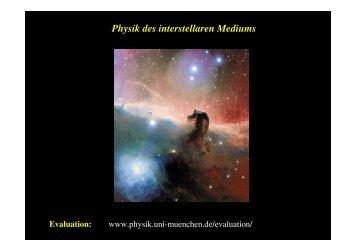 Physik des interstellaren Mediums Evaluation