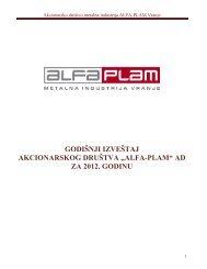 godisnji izvestaj 2012.pdf - Alfa Plam