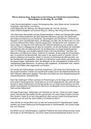Ansprache Pfarrer Andreas Gog bei der Stiftungsgründung