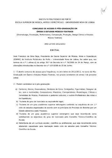 Edital, estrutura do Curso e Corpo Docente (pdf) - ESMAE