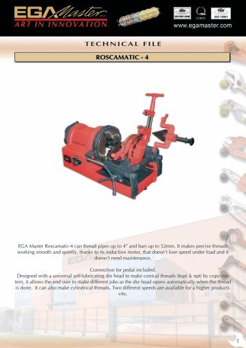 TECHNICAL FILE ROSCAMATIC - 4 - Ega Master