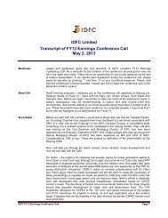 IDFC Limited Transcript of FY13 Earnings Conference Call May 2 ...