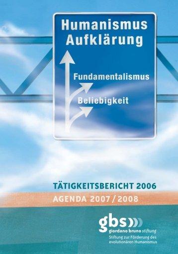 TÄTIGKEITSBERICHT 2006 - Giordano Bruno Stiftung