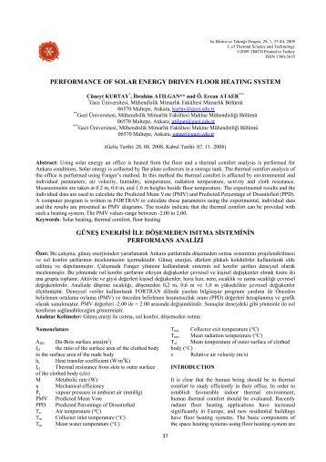 performance of solar energy driven floor heating system güneş ...