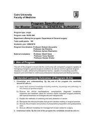 Program Specification for Master Degree in: GENERAL SURGERY.