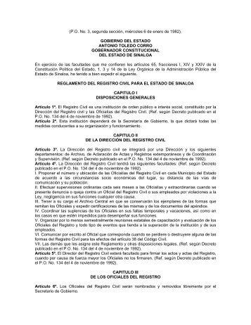 reglamento del registro civil para el estado de sinaloa.