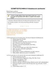 SZÁMÍTÁSTECHNIKA II feladatsorok szerkezete
