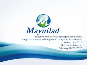 Maynilad NRW Management Program - Iwa-waterloss.org