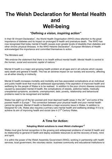 The Welsh Declaration for Mental Health and Well-being