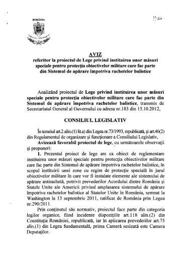 AVIZ referitor la proiectul de Lege privind instituirea unor măsuri