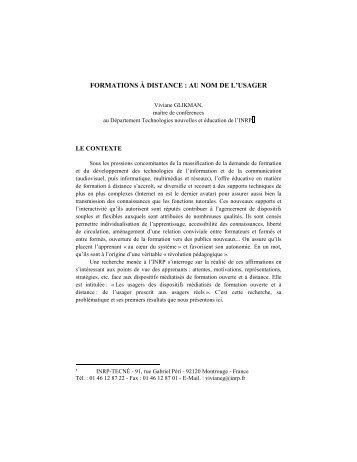 FORMATIONS À DISTANCE : AU NOM DE L'USAGER - Conseil ...