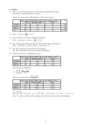 1. Aufgabe 1.1 Kreuz- bzw. Kontingenztabelle, auch bivariate ...