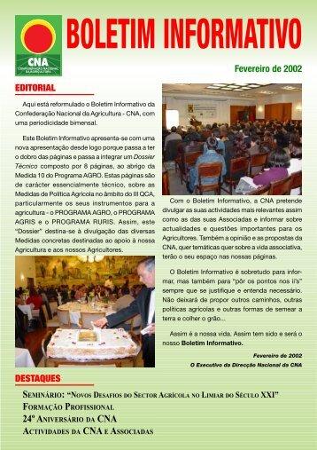 Boletim Informativo Fevereiro de 2002 - CNA