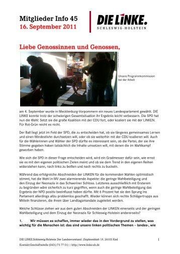 Mitglieder Info 45 - DIE LINKE. Schleswig Holstein