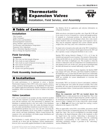 Sporlan TXV Inst Se.. - HVAC.Amickracing