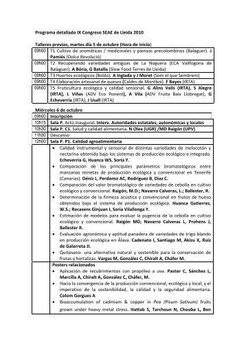 Programa detallado IX Congreso SEAE de Lleida 2010 Talleres ...