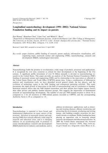 Longitudinal nanotechnology development - Penn State Personal ...