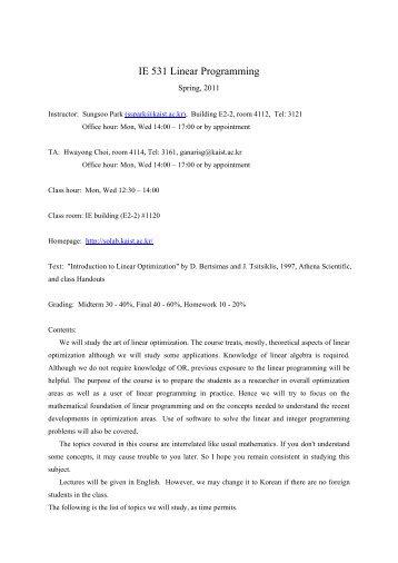 IE 531 Linear Programming - KAIST