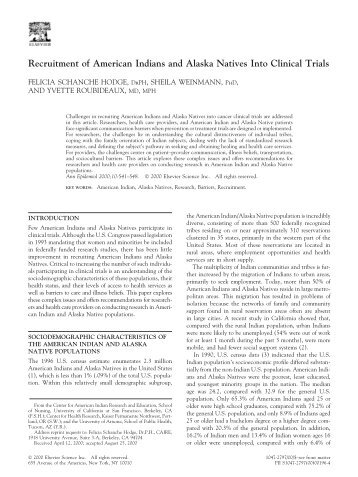 Recruitment of American Indians and Alaska Natives into clinical trials
