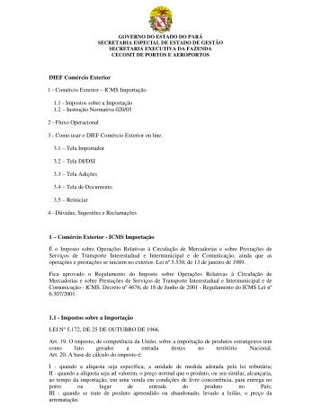 DIEF - Comércio Exterior - Sefa - Governo do Estado do Pará