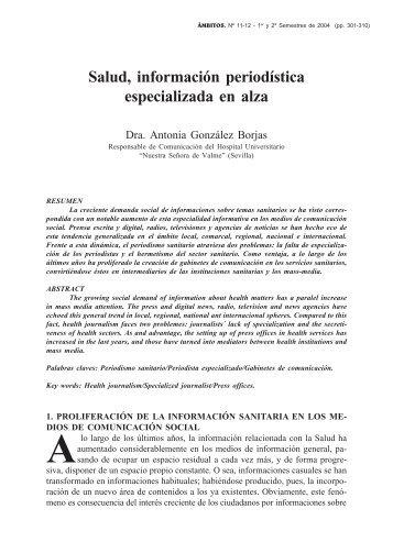 Salud, información periodística especializada en alza - Grupo.us.es