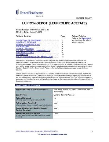 LUPRON-DEPOT (LEUPROLIDE ACETATE) - Oxford Health Plans