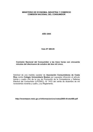 comision nacional del consumidor - Ministerio de Economía ...