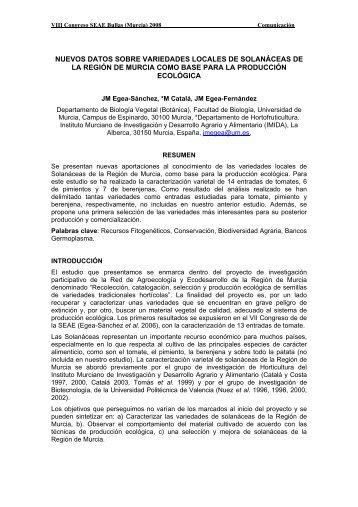 Descargar la comunicación completa - Sociedad Española de ...
