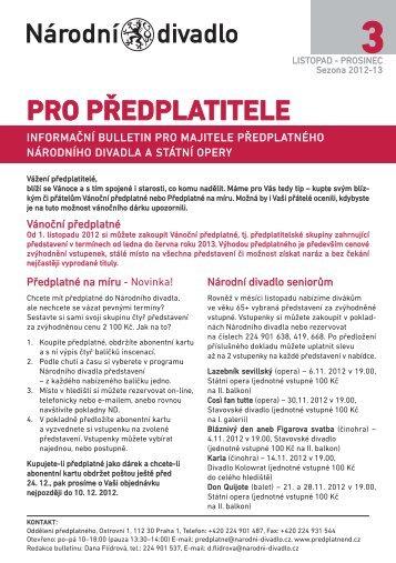 Bulletin pro předplatitele - 3 - Národní divadlo
