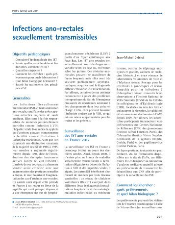 Infections ano-rectales sexuellement transmissibles