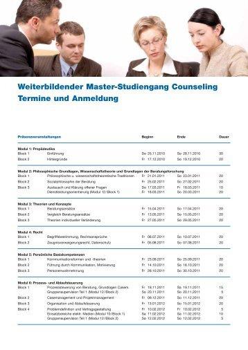 Weiterbildender Master-Studiengang Counseling Termine und ...