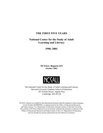 The First Five Years - National Center for the Study of Adult Learning ...