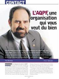 L'AQPF,une organisation qui vous veut du bien CONTACT - Conseiller