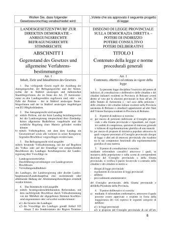 bestimmungen TITOLO I Contenuto della legge e norme procedurali