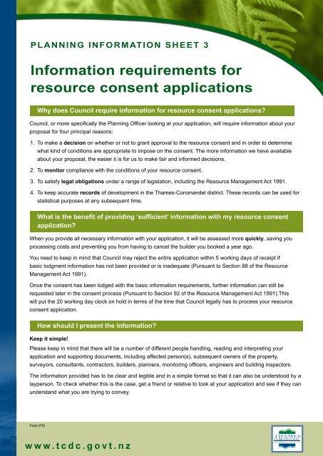 detailed checklist here  - Thames-Coromandel District Council