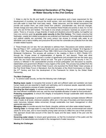 Ministerial Declaration of The Hague on Water Security in the 21st ...