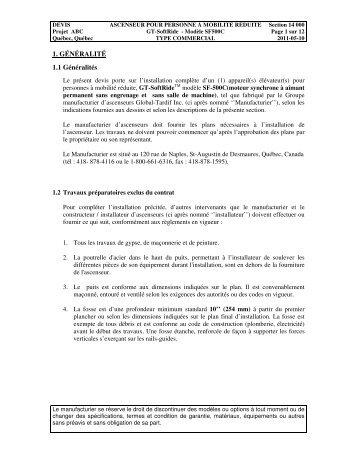 1. GÉNÉRALITÉ 1.1 Généralités - Global Tardif Groupe ...