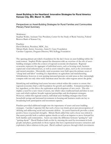 Perspectives on Asset-Building Strategies for Rural Families ... - CFED