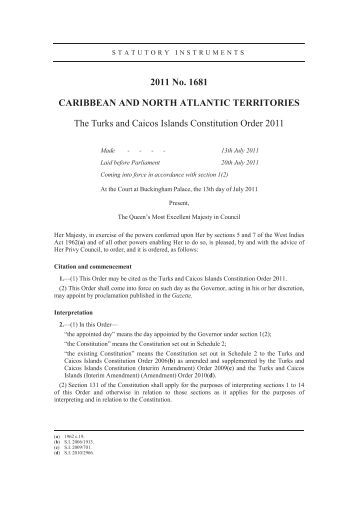 Constitution - The Goverment of the Turks & Caicos Islands