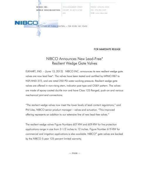 NIBCO Announces New Lead-Free* Resilient Wedge Gate Valves on