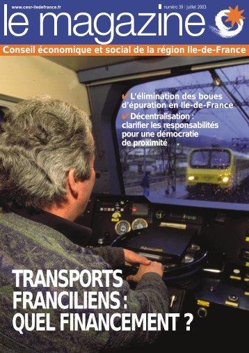 transports franciliens: quel financement - CESER Ile-de-France