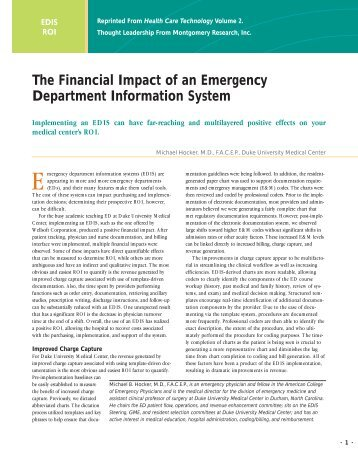 The Financial Impact of an Emergency ... - HIMSS Analytics