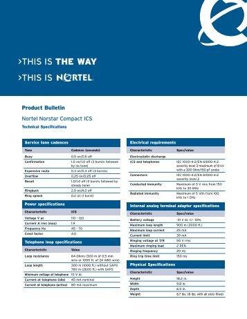 Nortel Norstar Compact ICS Technical Specifications - Ash Telecom