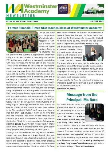 21 June 2013 - Westminster Academy