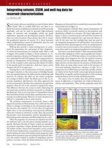 Integrating seismic, CSEM, and well-log data for reservoir ...